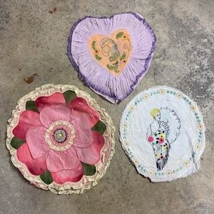 3pc Lot- Antique Embroidery & Lace Pillow Covers
